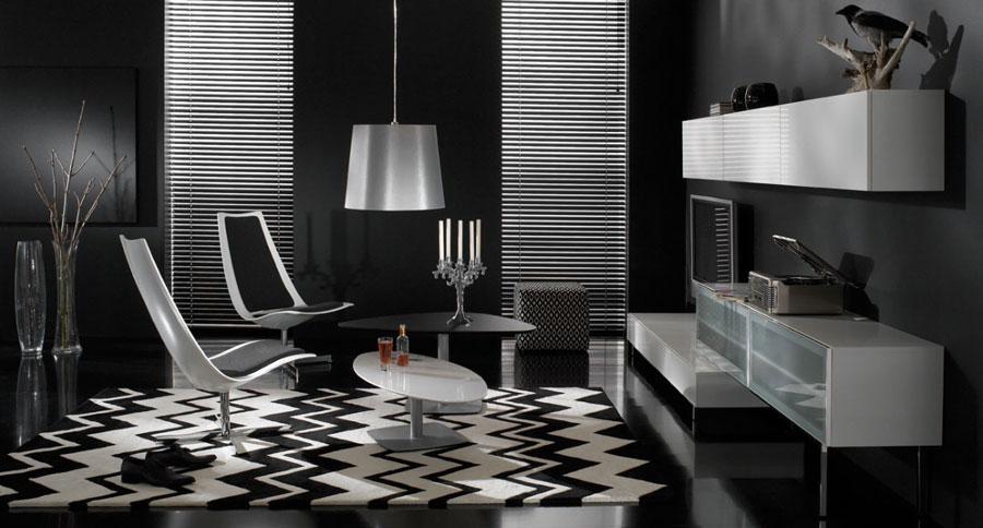 Voorbeeld van een zwart wit tapijt in een kamer